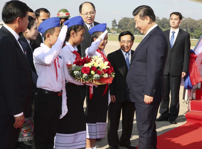 Chinese President Xi Jinping, also general secretary of the Communist Party of China (CPC) Central Committee, arrives in Laos for a state visit on Monday, November 13, 2017.