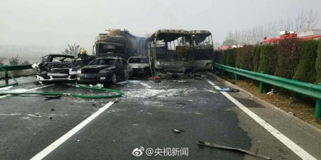 Rescuers work at the scene of a pile-up accident in east China's Anhui Province on November 15, 2017. [Photo: CCTV]