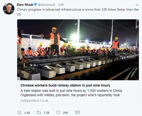 A screenshot of American entrepreneur Elon Musk's Twitter account [Screenshot: China Plus]