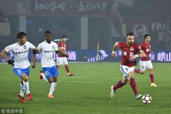 Henan Jianye beats Tianjin Teda 1-0 and gets its first victory of the 2018 Chinese Super League (CSL) season on March 11, 2018. [Photo: VCG]