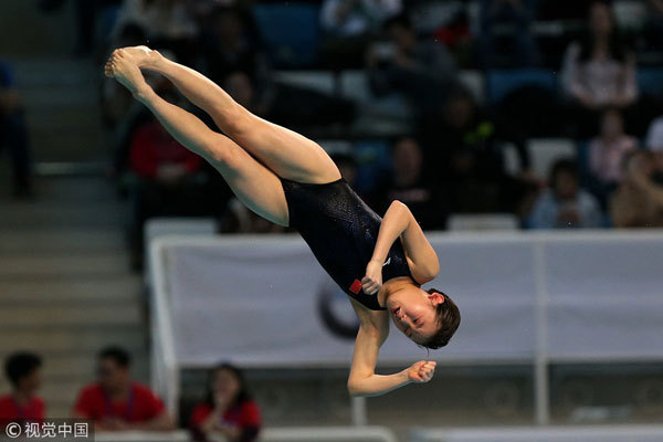 China's Zhang Jiaqi competes during the women's 10m platform final at the FINA Diving World Series 2018 in Beijing on March 11, 2018. [Photo: VCG]
