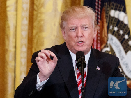 U.S. President Donald Trump speaks during a National African American History Month reception at the White House in Washington D.C., the United States, Feb. 13, 2018. [Photo: Xinhua/Ting Shen]