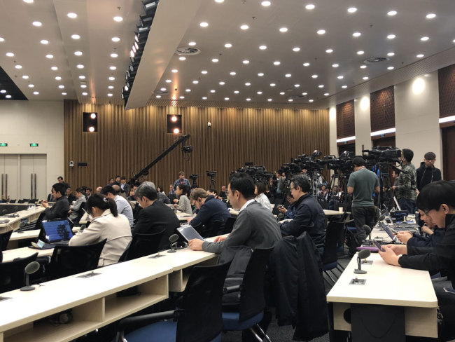 Reporters attend the media briefing on Boao Forum for Asia 2018 in Beijing on Tuesday, April 3, 2018. [Photo: China Plus]