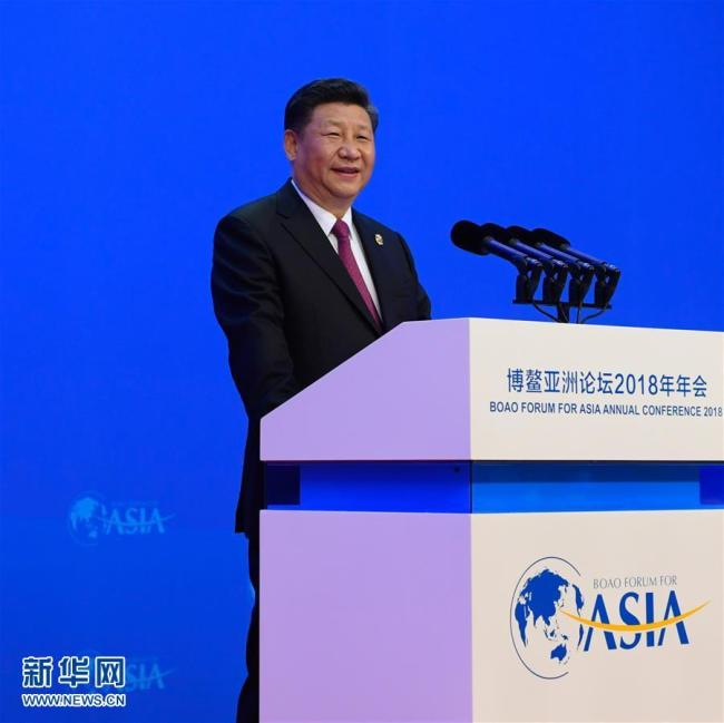 Chinese President Xi Jinping delivers a keynote speech at the opening ceremony of the 2018 annual conference of the Boao Forum for Asia (BFA) in Boao, Hainan Province, on Tuesday, April 10, 2018. [Photo: Xinhua]