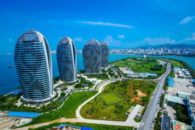 View of skyscrapers on the Phoenix Island in Sanya city, south China's Hainan province. [File Photo: IC]