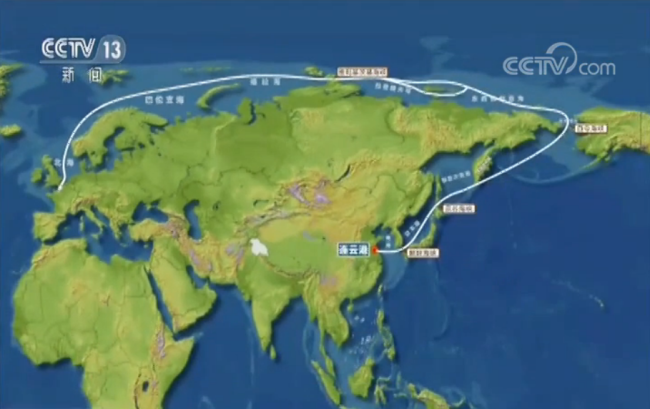 A map shows the sailing route of Tain'en beginning in China through the Arctic to Europe. [Screenshot: CCTV.com]