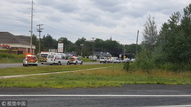 Emergency vehicles are seen at the Brookside Drive area in Fredericton, Canada August 10, 2018 in this picture obtained from social media. [Photo: VCG]
