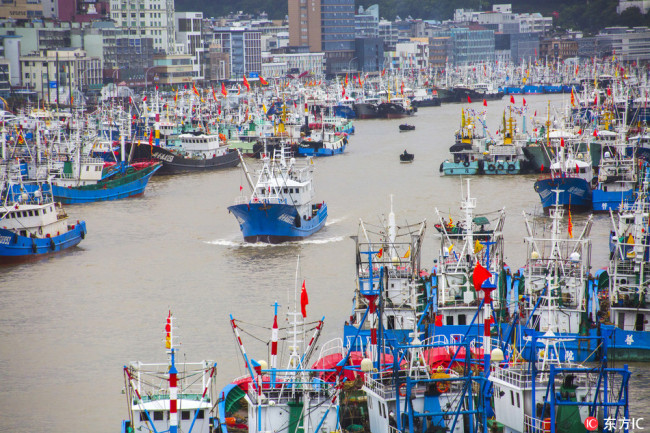 Fishing boats rest at port for safety in Zhoushan city, Zhejiang province ahead of the arrival of this year's fourteenth typhoon. [Photo: IC]