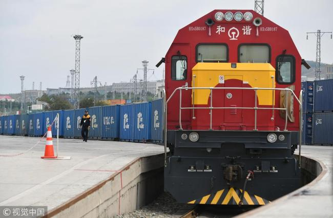A cargo train leaves the service hub for China Railway Express in Xinjiang's Urumqi for Moscow, Russia. [File Photo: VCG]