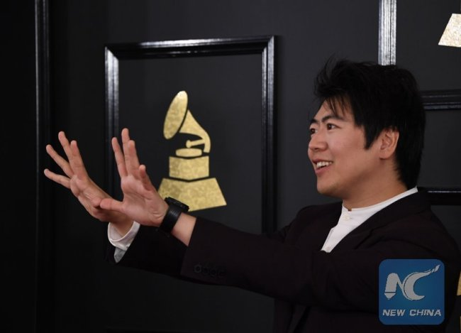 This file photo taken on February 12, 2017 shows Lang Lang arriving for the 59th Grammy Awards pre-telecast in Los Angeles, California. [Photo: Xinhua/AFP]