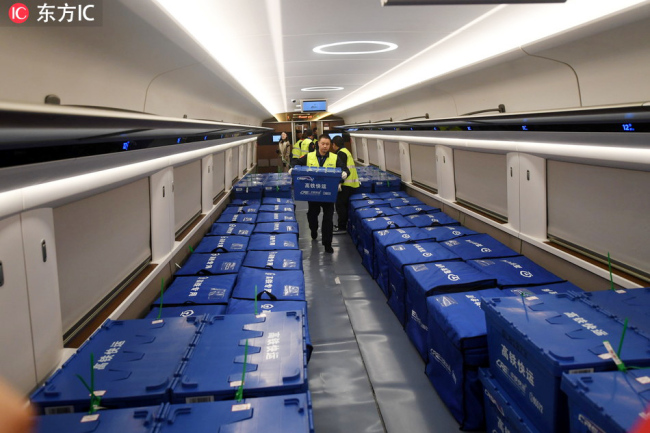 Fuxing bullet trains between Beijing and Changsha help to deliver goods bought on Single's Day on November 11, 2018. [Photo: IC]
