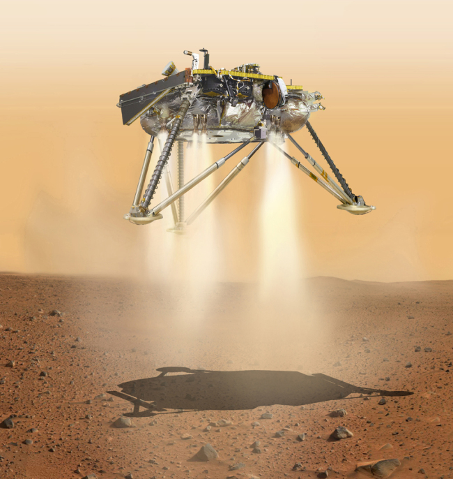 This illustration made available by NASA in October 2016 shows an illustration of NASA's InSight lander about to land on the surface of Mars. [File photo: NASA/JPL-Caltech via AP]
