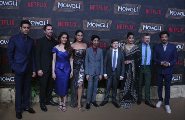 Actors from left to right, Abhishek Bachchan, Christian Bale, Madhuri Dixit, Kareena Kapoor, Rohan Chand, Louis Serkis, Freida Pinto, Andrew Serkis and Anil Kapoor pose at a red carpet of Netflix's Mowgli world premier in Mumbai, India, Sunday, Nov 25, 2018. [Photo: AP]