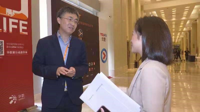 CGTN speaks to Li Yan, senior director in Technical Standards at Qualcomm Wireless Communication Technologies (China) Limited at the 6th China Internet Audio & Video Convention in Chengdu. [Photo:CGTN]