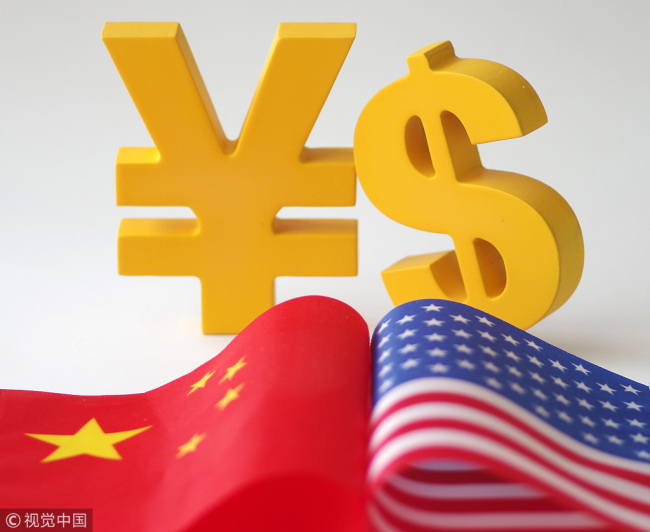 The Chinese yuan and U.S. dollar symbols. [Photo: VCG]