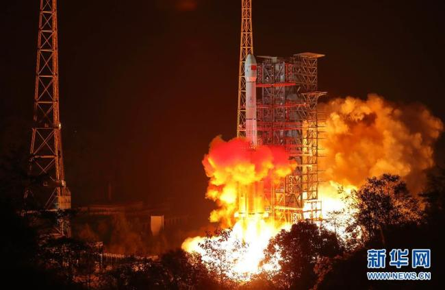 A Long March-3B rocket, carrying the Chang'e-4 lunar probe including a lander and a rover, blasts off from the Xichang Satellite Launch Center in southwest China's Sichuan Province at 2:23 a.m. on Saturday, December 8, 2018. [Photo: Xinhua]
