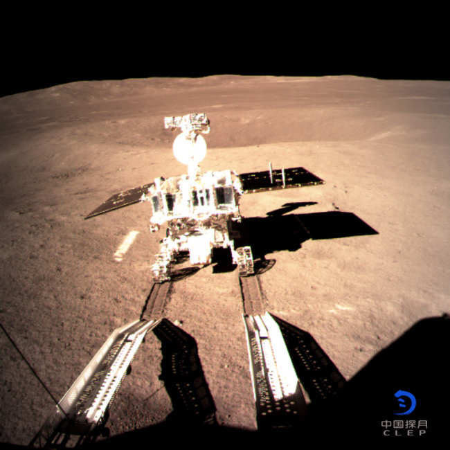 """China's lunar rover, Yutu-2, or Jade Rabbit-2, left the first ever """"footprint"""" from a human spacecraft on the far side of the moon late at night on Thursday, Jan. 3, 2019, after it separated from the lander smoothly.[Photo: clep.org.cn]"""