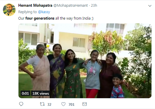 A Netizen from India upload his video of four generations on Twitter.[Screenshot: China Plus]