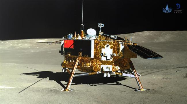 Photo taken by the rover Yutu-2 (Jade Rabbit-2) on Jan. 11, 2019 shows the lander of the Chang'e-4 probe. China announced Friday that the Chang'e-4 mission, which realized the first-ever soft-landing on the far side of the moon, was a complete success. With the assistance of the relay satellite Queqiao (Magpie Bridge), the rover Yutu-2 (Jade Rabbit-2) and the lander of the Chang'e-4 probe took photos of each other. [Photo: Xinhua/China National Space Administration]