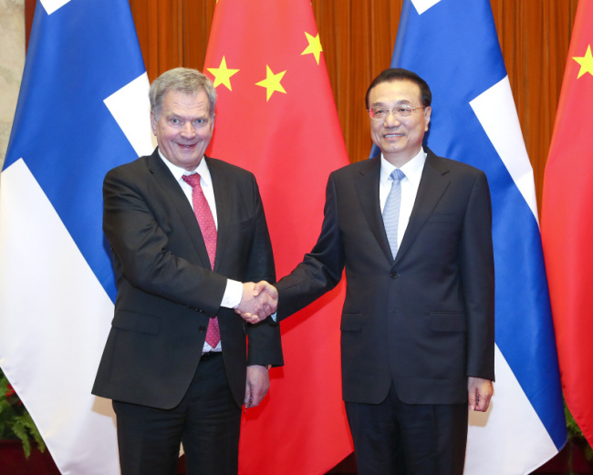 Premier Li Keqiang meets with visiting Finnish President Sauli Niinisto on January 15, 2019. [Photo: gov.cn]