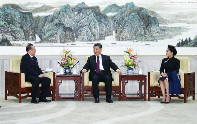 Xi Jinping (C), general secretary of the Communist Party of China (CPC) Central Committee and Chinese president, and his wife Peng Liyuan meet with Ri Su Yong, a member of the Political Bureau of the Workers' Party of Korea (WPK) Central Committee, vice-chairman of the WPK Central Committee and director of the party's International Department, who led an art troupe from the Democratic People's Republic of Korea (DPRK), in Beijing, capital of China, Jan. 27, 2019.[Photo:Xinhua]