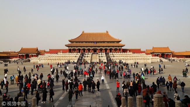 The photo taken on February 3, 2019, shows lots of people visiting the Palace Museum in central Beijing. [Photo: VCG]