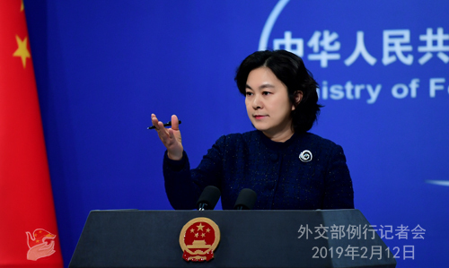Foreign Ministry Spokesperson Hua Chunying holds a press conference in Beijing on Tuesday, February 12, 2019. [Photo: fmprc.gov.cn]