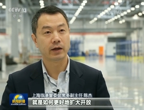 Chen Jie, the deputy director of Shanghai's Lingang district management committee. [File Photo: Screenshot from CCTV News]
