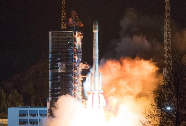 """The """"ChinaSat 6C"""" satellite is launched by a Long March-3B carrier rocket from the Xichang Satellite Launch Center in southwest China's Sichuan Province, March 10, 2019. It will provide high-quality radio and TV transmission services. [Photo: Xinhua/Guo Wenbin]"""