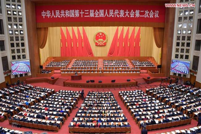 The third plenary meeting of the second session of the 13th National People's Congress (NPC) is held at the Great Hall of the People in Beijing, March 12, 2019. [Photo: Xinhua/Li Tao]