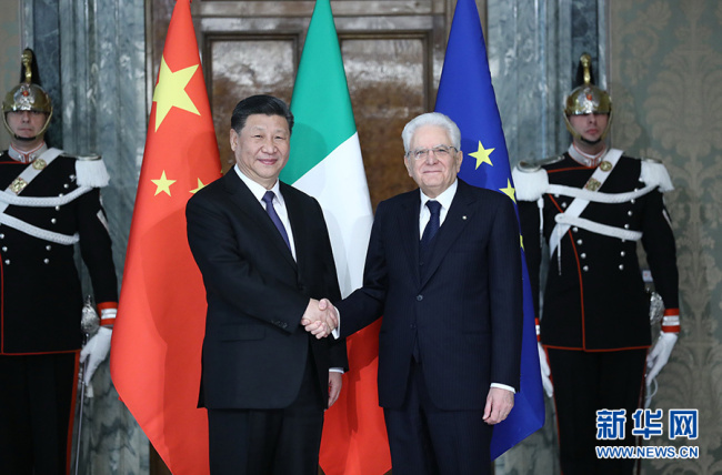 Chinese President Xi Jinping (L, front) and his Italian counterpart Sergio Mattarella (R, front) hold talks in Rome, Italy, March 22, 2019. [Photo: Xinhua]