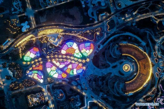 Aerial photo taken on March 26, 2019 shows the night view at the site of the International Horticultural Exhibition 2019 Beijing China (Expo 2019 Beijing) in Yanqing District of Beijing, capital of China. The 2019 Beijing International Horticultural Exhibition is slated to kick off on April 29, 2019. [Photo: Xinhua/Zhang Chenlin]