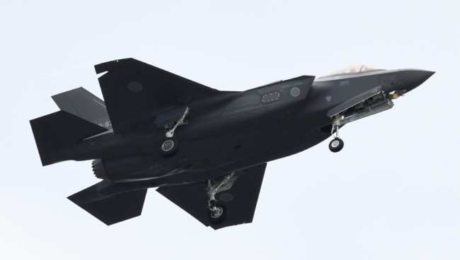 An F-35 fighter aircraft of the Japan Air Self-Defense Force takes part in a military review at the Ground Self-Defence Force's Asaka training ground in Asaka, Saitama prefecture on October 14, 2018. [File photo: AFP/Kazuhiro Nogi]