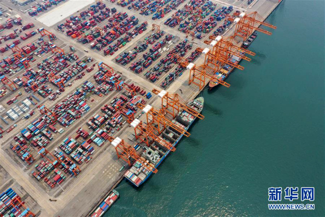 An aerial photo taken on April 13, 2019 shows the Port of Qinzhou in south China's Guangxi Zhuang Autonomous Region. [Photo: Xinhua]