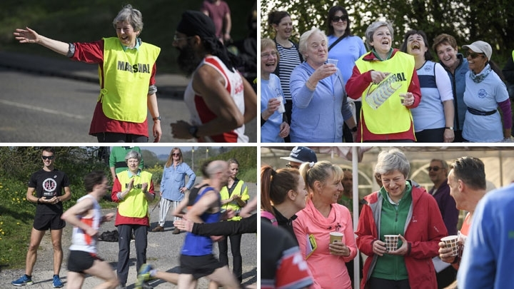 British PM helps out at the Maidenhead Easter 10 run in Berkshire