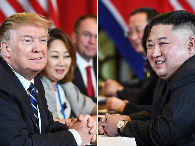 This combination of files pictures made on April 18, 2019, shows US President Donald Trump (L) and North Korea's leader Kim Jong Un (R) smiling during a bilateral meeting on February 28, 2019. [File Photo: AFP]