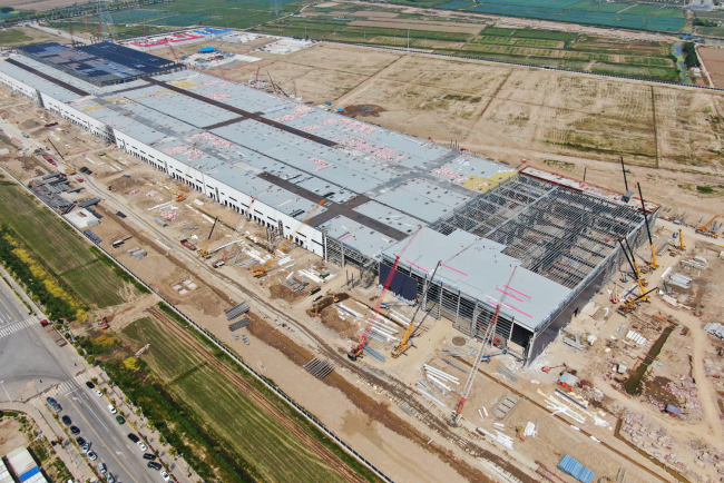 Tesla's Gigafactory under construction in Lingang, Shanghai, on May 10, 2019. [File Photo: IC]