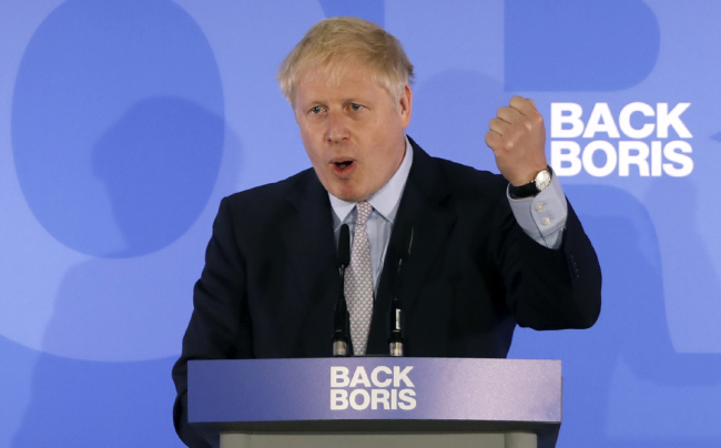 Conservative MP Boris Johnson speaks during his Conservative Party leadership campaign launch in London on June 12, 2019. [Photo: AFP]