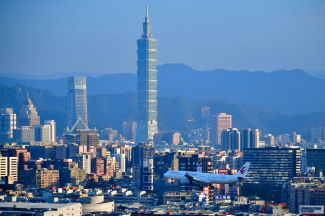 A view of the Taipei 101 skyscraper of 509m in height [1,671ft] in Taipei, the capital of Taiwan on November 24, 2018. [Photo: IC]