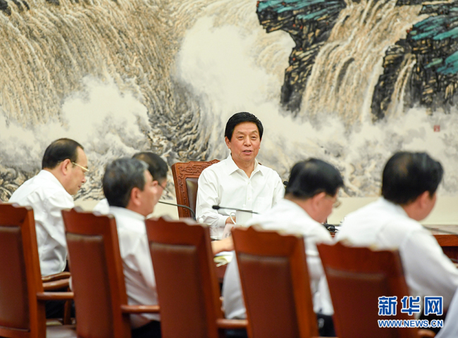 Li Zhanshu, a member of the Standing Committee of the Political Bureau of the Communist Party of China Central Committee and chairman of the Standing Committee of the NPC, holds a meeting with chiefs of the standing committees of provincial-level people's congresses in Beijing on July 3, 2019.[Photo: Xinhua]