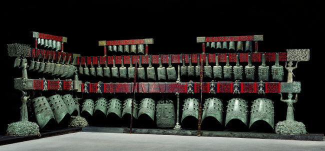 The Zenghouyi Chime Bells showcase in Hubei Provincial Museum. [Photo provided by Hubei Provincial museum]