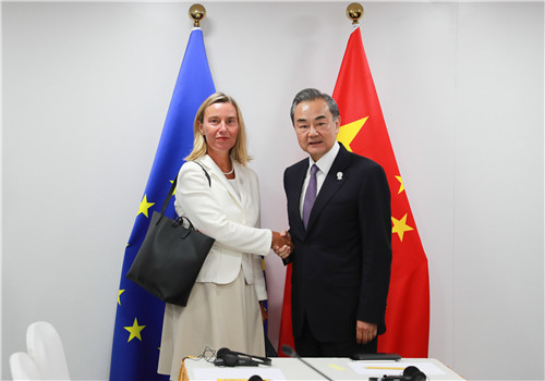 Chinese State Councilor and Foreign Minister Wang Yi meets with European Union (EU) High Representative for Foreign Affairs and Security Policy Federica Mogherini in Bangkok, capital of Thailand, on Thursday, August 1, 2019. [Photo: fmprc.gov.cn]