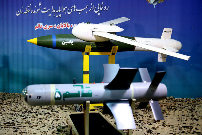 Yassin and Balaban precision-guided munitions (PGM) and a new generation of Qaem electro-optical guided bomb were unveiled in a ceremony in Tehran where Defense Minister Brigadier General Amir Hatami was present, August 06, 2019. [File photo: SalamPix/ABACAPRESS.COM via IC]