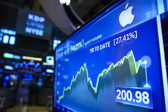 Stock numbers for Apple are displayed on a monitor on the floor of the New York Stock Exchange (NYSE) at the opening bell on August 13, 2019 in New York City. [Photo: Getty Images via VCG/Drew Angerer]