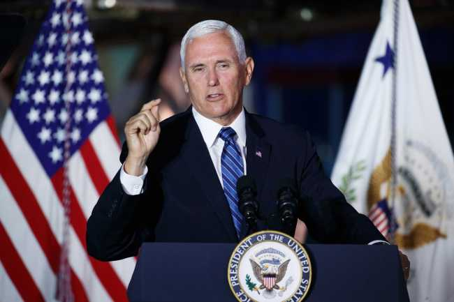U.S. Vice President Mike Pence delivers remarks during the 6th National Space Council meeting at the National Air and Space Museum, Steven F. Udvar-Hazy Center in Chantilly, Virginia, USA, 20 August 2019.[Photo: EPA via IC/SHAWN THEW]