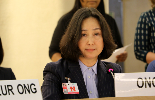 Pansy Ho Chiu-king, chairperson of the Hong Kong Federation of Women, speaks at a meeting of the United Nations Human Rights Council on September 11, 2019. [Photo: China Plus/Yi Xin]