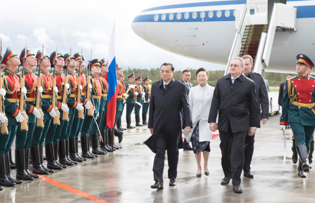 Chinese Premier Li Keqiang arrives in St. Petersburg on September 16, 2019 for a three-day official visit to Russia. [Photo: gov.cn]