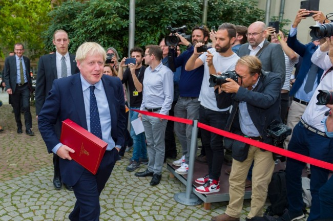 This handout picture taken and released by the Information and Press service of the government of the Grand Duchy of Lxembourg on September 16, 2019 shows British Prime Minister Boris Johnson after a meeting with EU Commission President and officials at the Ministere d'Etat in Luxembourg. [Photo: AFP]