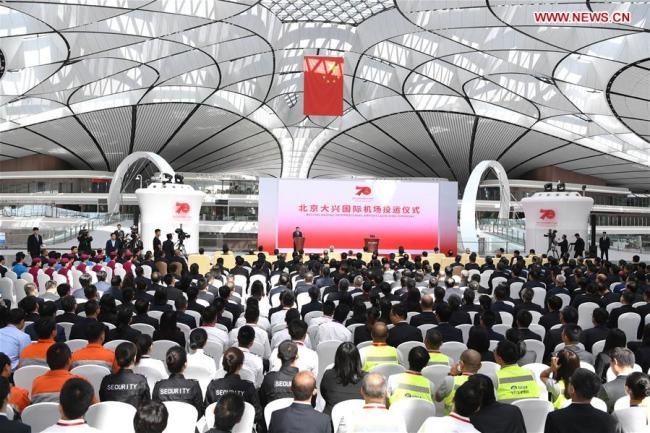 he launching ceremony of Daxing International Airport is held in Daxing District of Beijing, capital of China, on Sept. 25, 2019. The airport was put into operation on Wednesday. [Photo: Xinhua/Rao Aimin]