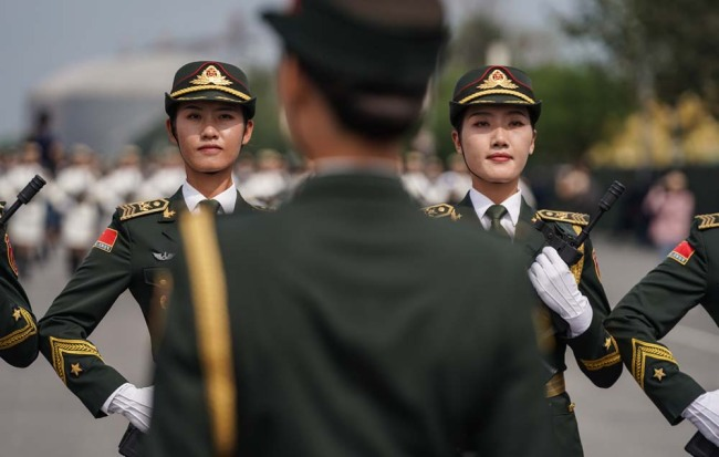Soldiers train for the military parade in preparation for the National Day celebration in Beijing, on September 17, 2019. [Photo: China Plus]